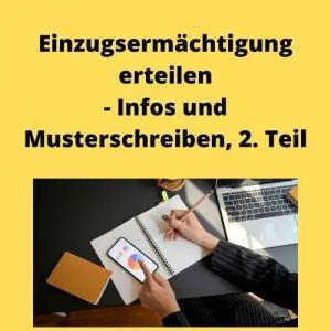 Einzugsermächtigung erteilen - Infos und Musterschreiben, 2. Teil